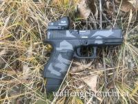 Glock 19 in Cerakote Splittercamo H-190 Armor Black H-237 Tungsten H-112 Cobalt